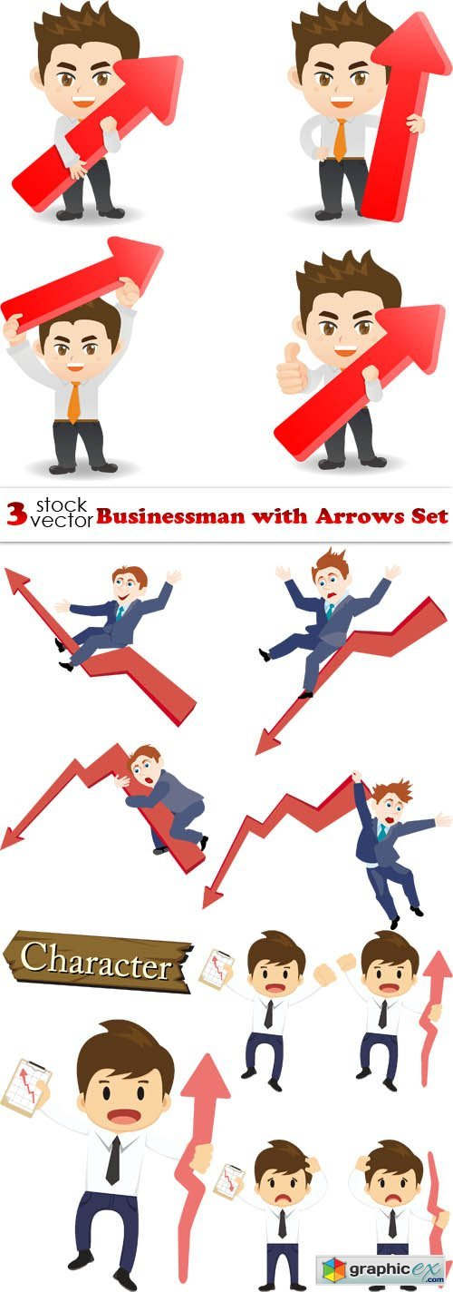 Businessman with Arrows Set