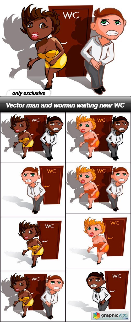 man and woman waiting near WC - 8 EPS