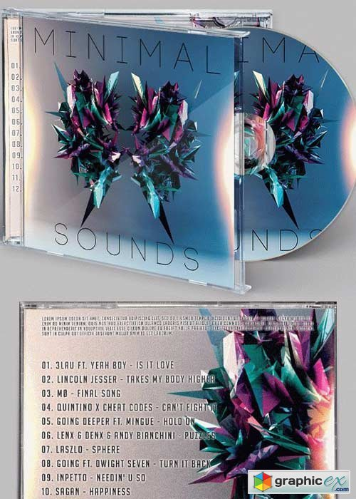 Minimal Sound CD Cover PSD Template