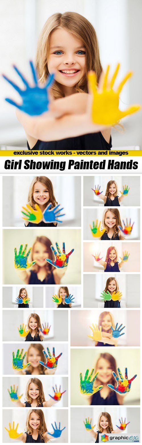 Girl Showing Painted Hands - 16xUHQ JPEG