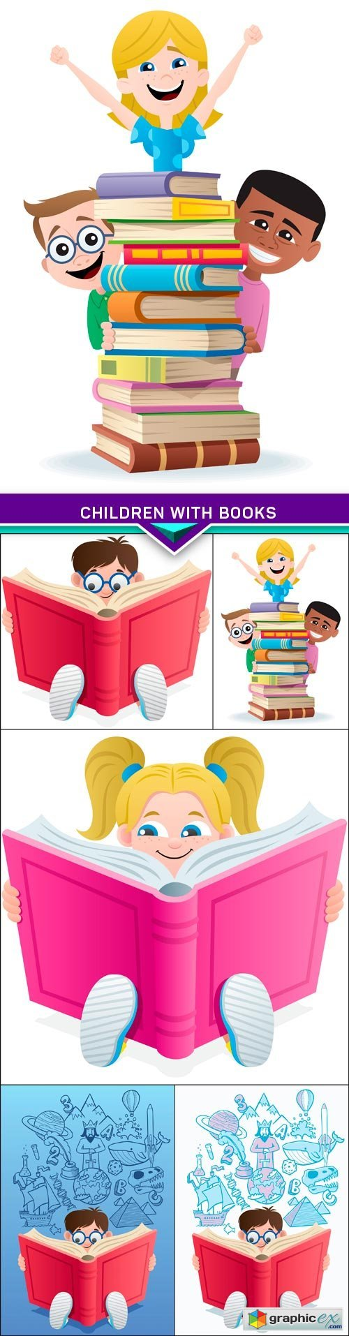 Children with books 5X EPS