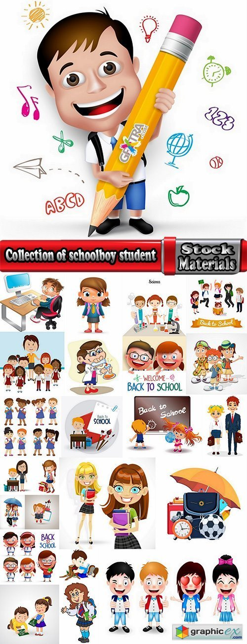 Collection of schoolboy student study education school cartoon 25 EPS