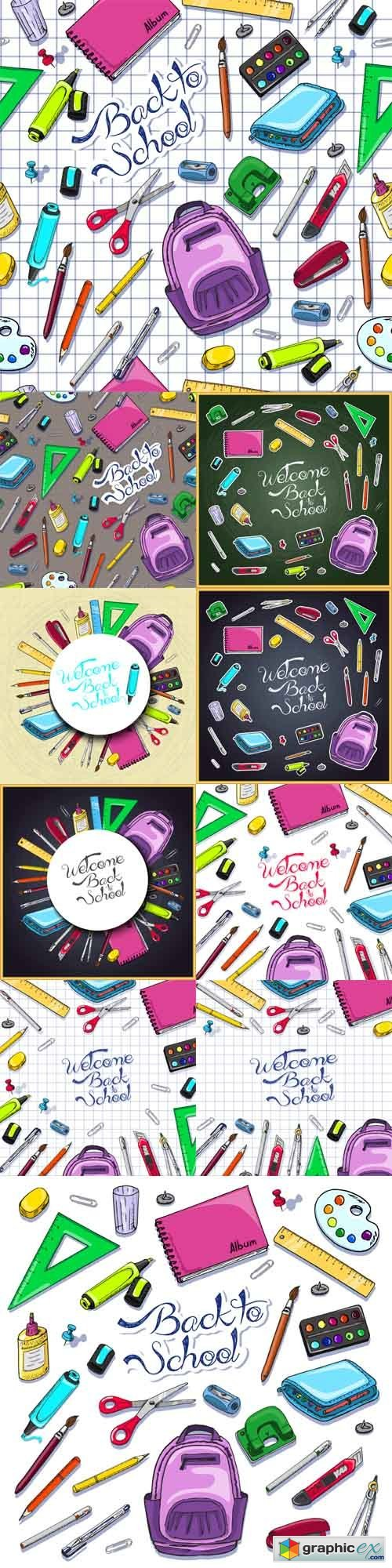 Illustrations of Back to School Supplies