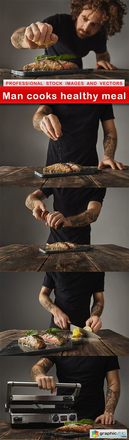 Man cooks healthy meal - 5 UHQ JPEG
