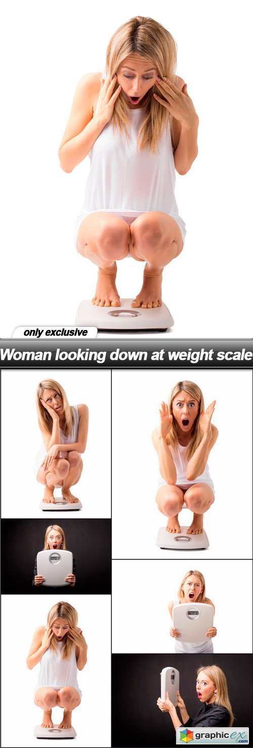 Woman looking down at weight scale - 6 UHQ JPEG