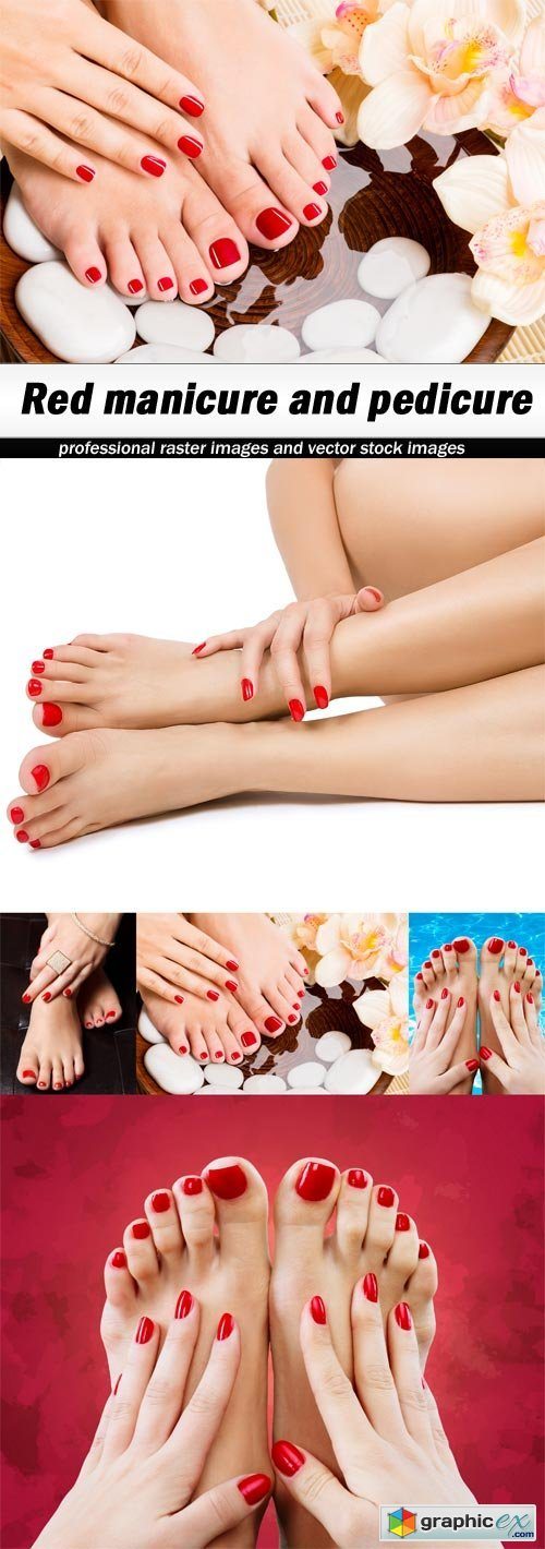 Red manicure and pedicure - 5 UHQ JPEG