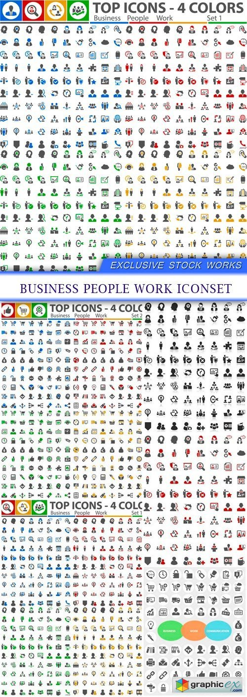 Business People Work Iconset 5X EPS