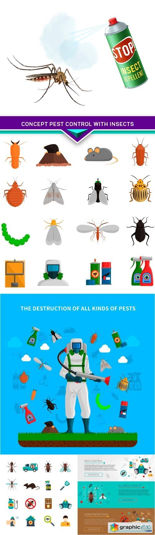 Concept pest control with insects 5X EPS