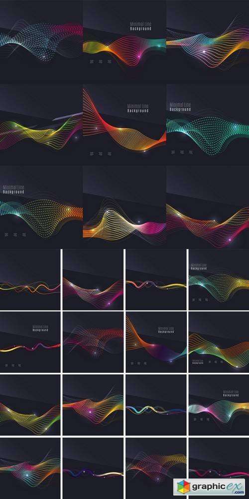 Futuristic Colorful Waves and Lines on Dark Background