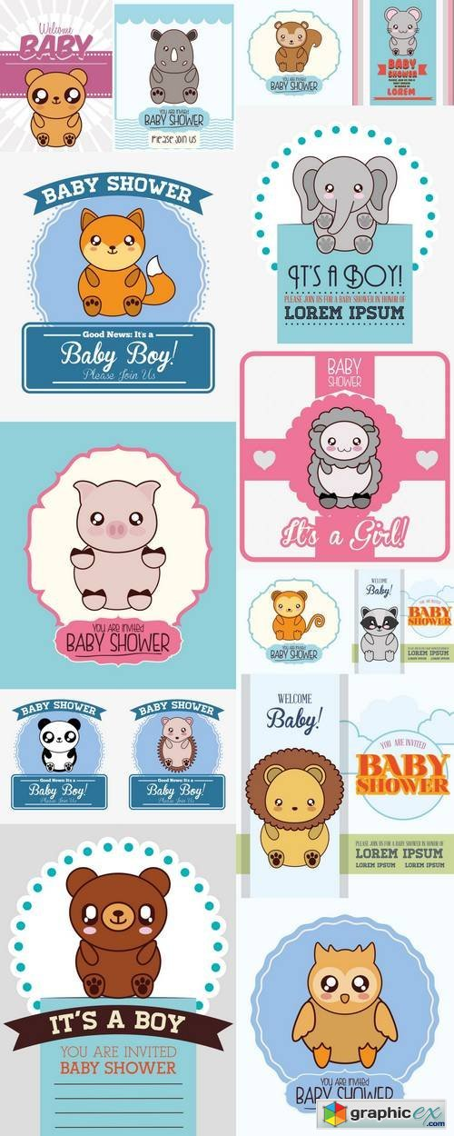 Cute Animal Cartoon Baby Shower