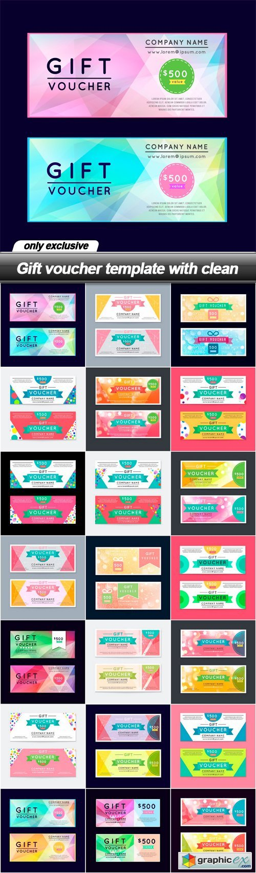 Gift voucher template with clean - 21 EPS