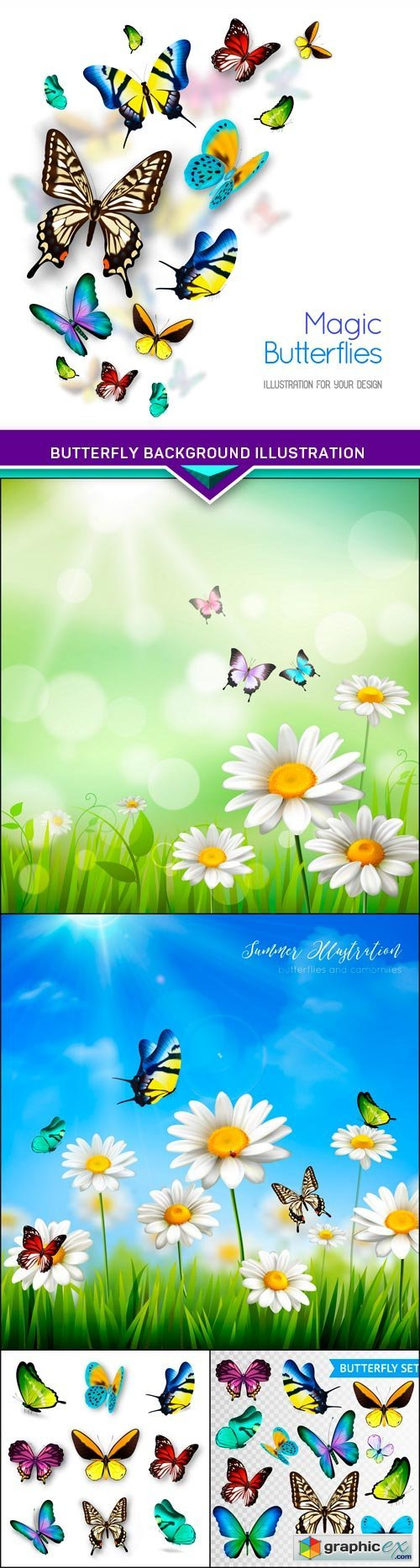 Butterfly Background Illustration 5X EPS