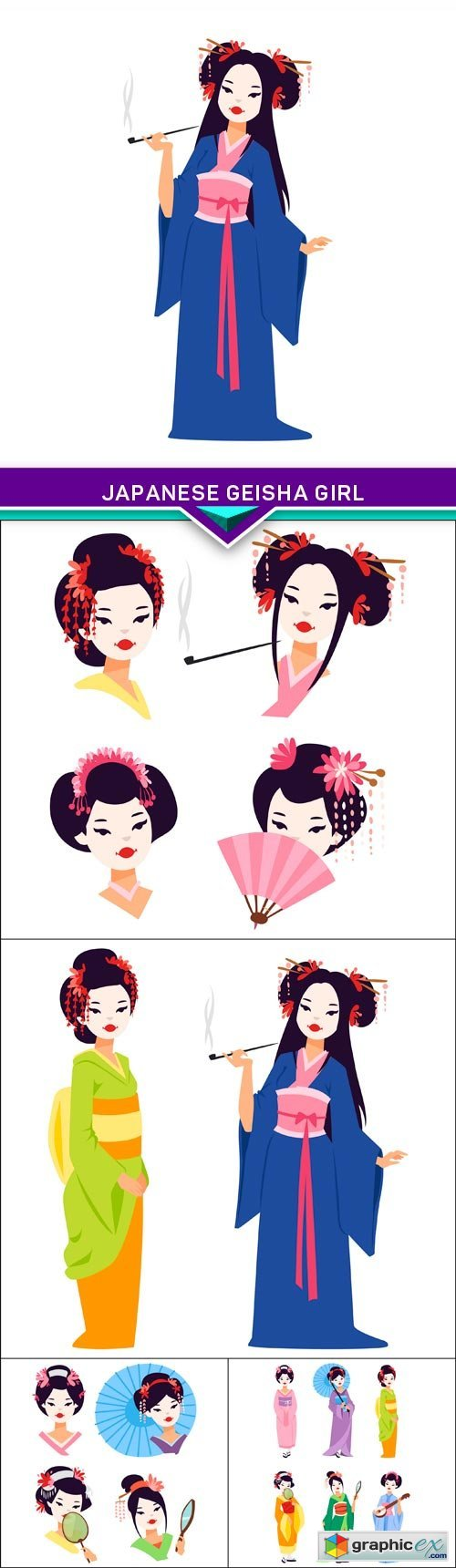 Japanese geisha girl 5X EPS
