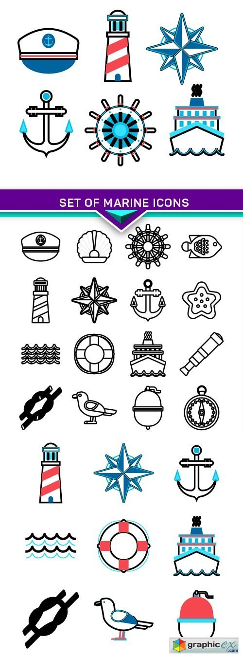 Set of marine icons 3X EPS