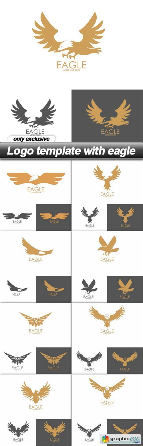 Logo template with eagle - 9 EPS