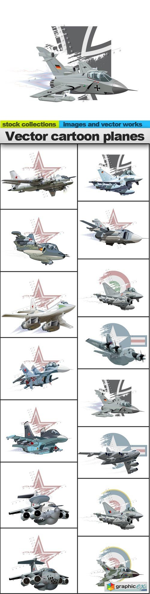 cartoon planes, 15 x EPS