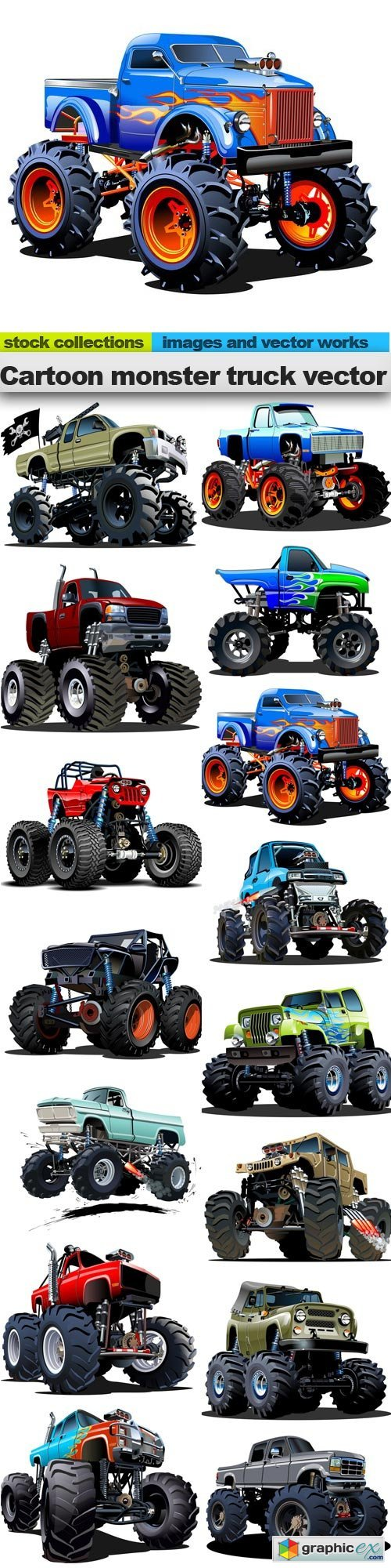 Cartoon monster truck vector, 15 x EPS