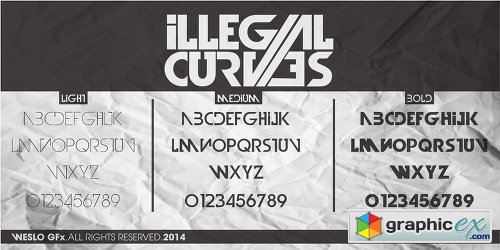 Illegal Curves Font Family - 3 Fonts