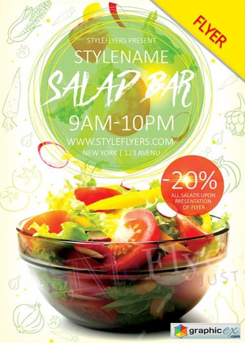 Salad Bar Flyer V1 PSD Flyer Template