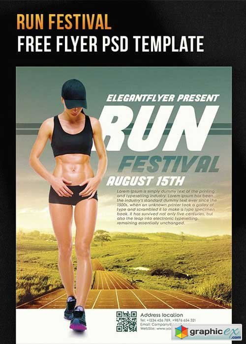 Run Festival V5 Flyer PSD Template + Facebook Cover