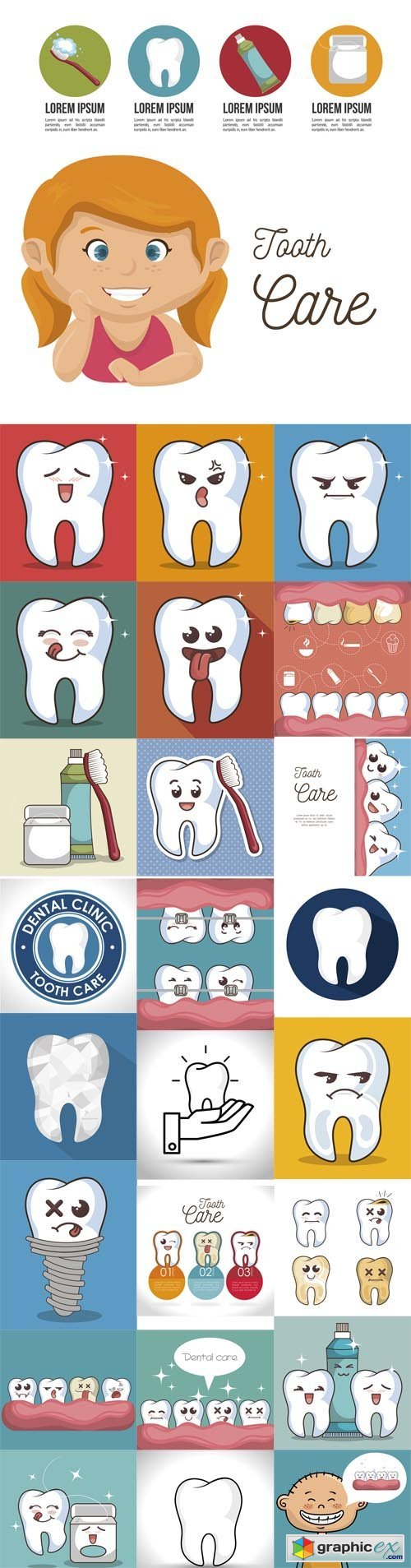 Human Tooth Character Icon Illustration Graphic