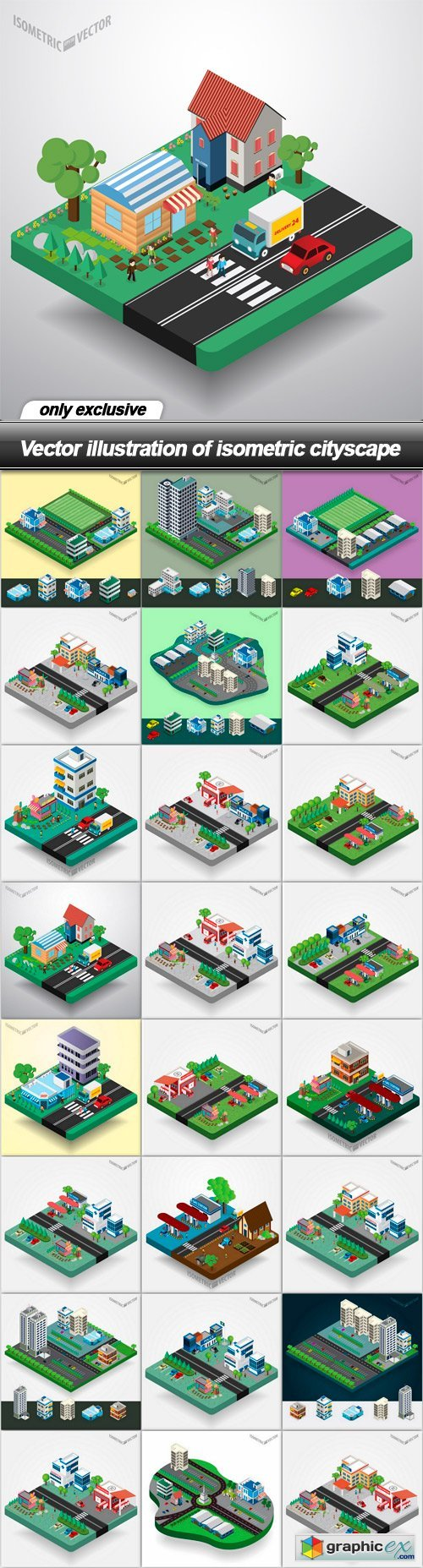 illustration of isometric cityscape - 24 EPS