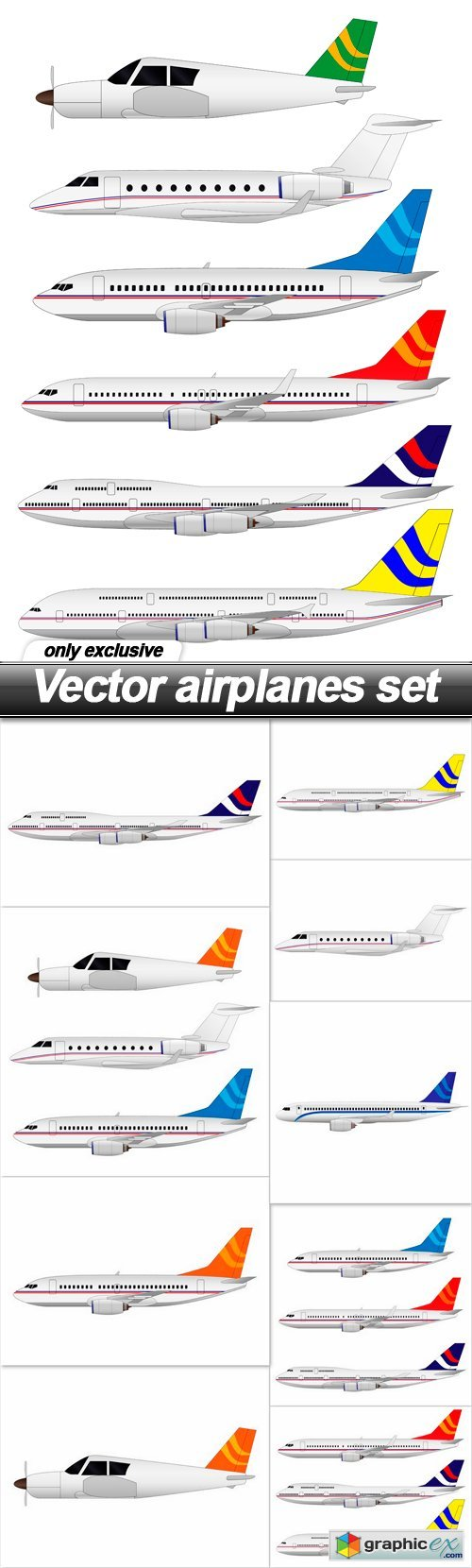 airplanes set - 10 EPS