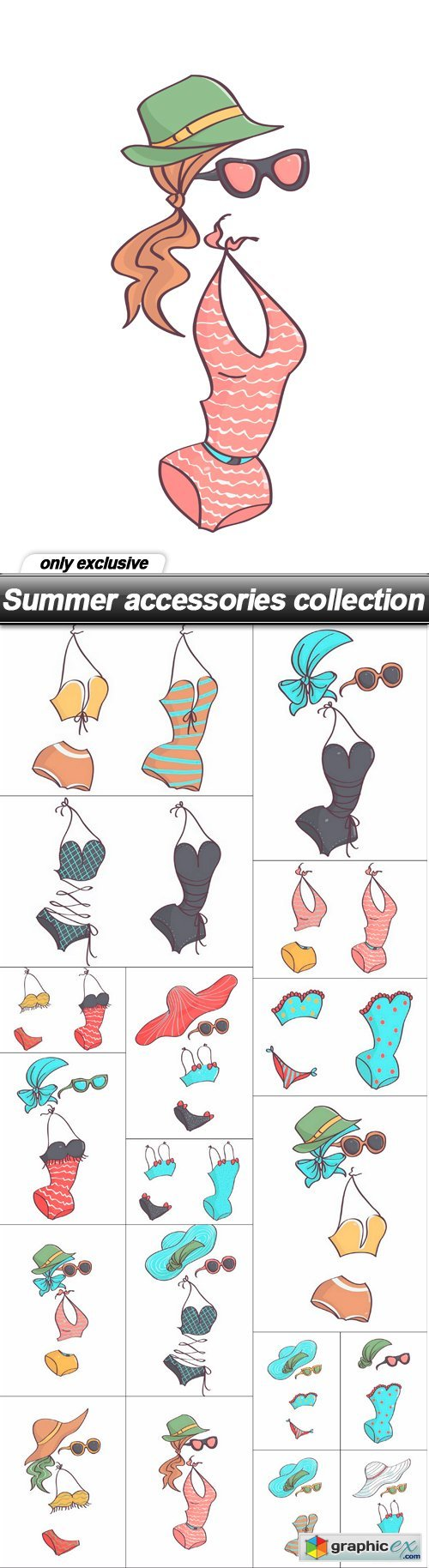 Summer accessories collection - 18 EPS