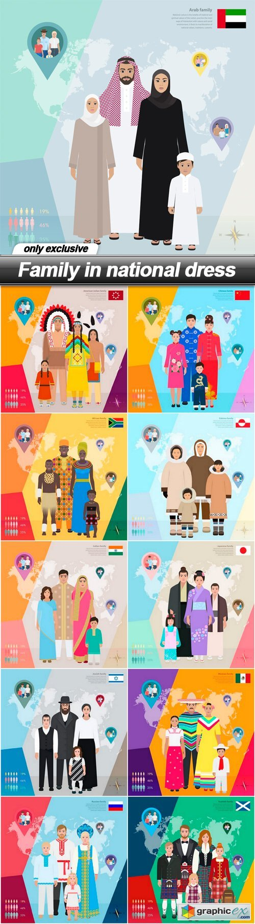 Family in national dress - 11 EPS