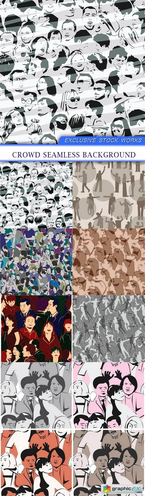 Crowd Seamless Background 7X EPS