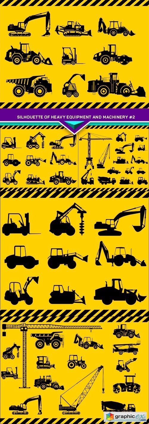 Silhouette illustration of heavy equipment and machinery #2 5X EPS