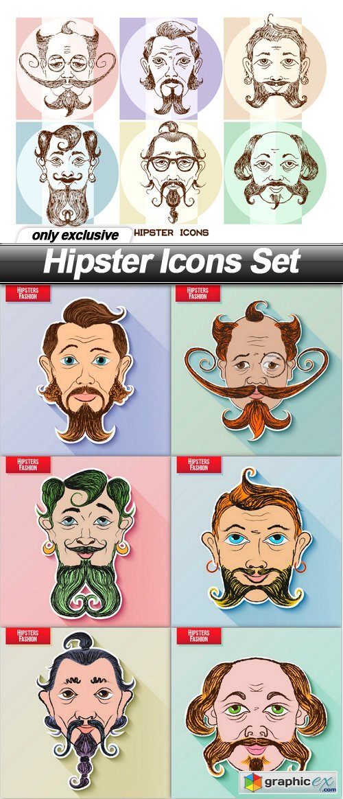 Hipster Icons Set - 7 EPS