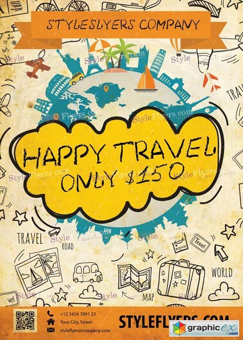 Happy Travel V3 PSD Flyer Template
