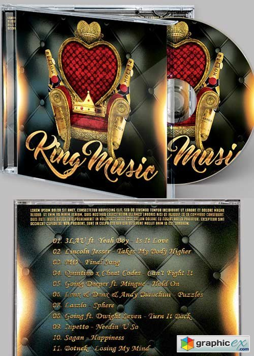 King Music CD Cover PSD Template