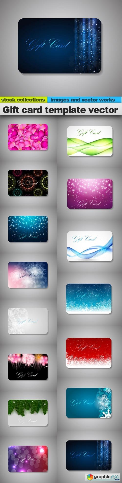 Gift card template vector, 15 x EPS