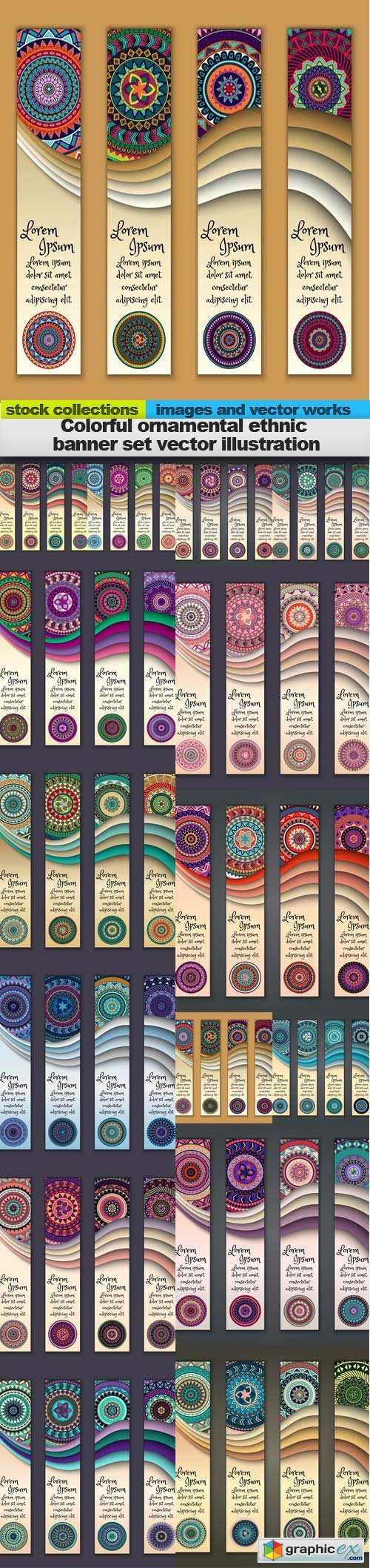 Colorful ornamental ethnic banner set vector illustration, 15 x EPS