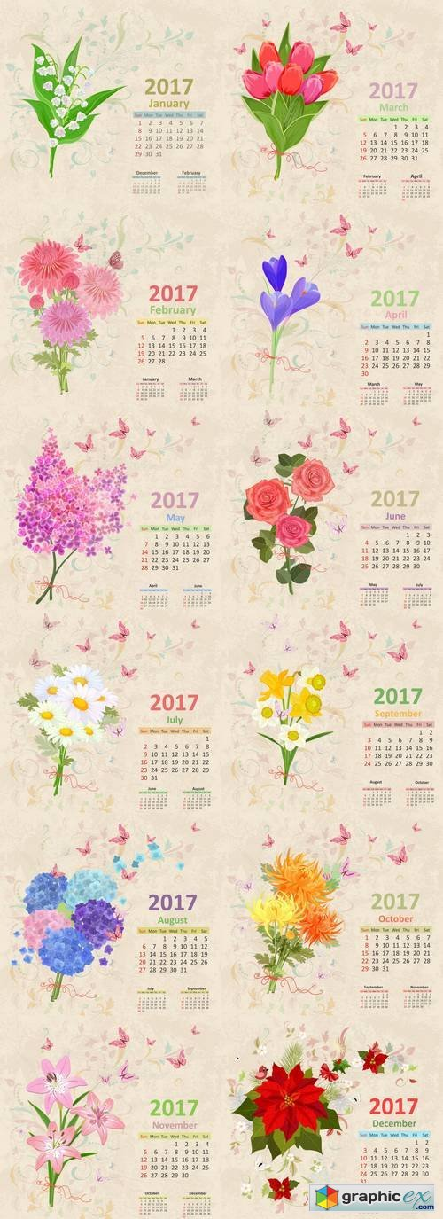 Calendar with Flowers - Grunge Background