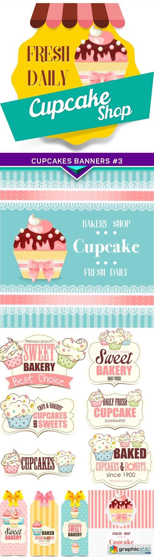 Cupcakes banners #3 5X EPS