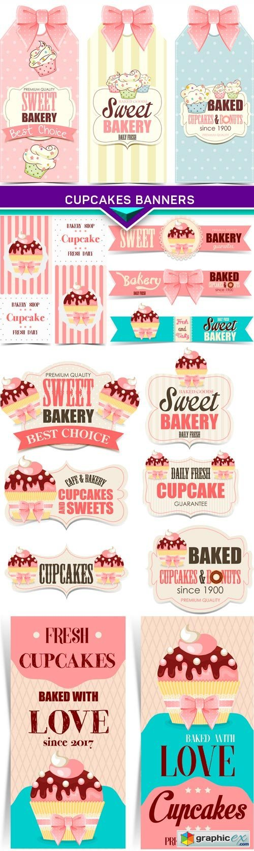 Cupcakes banners 5X EPS