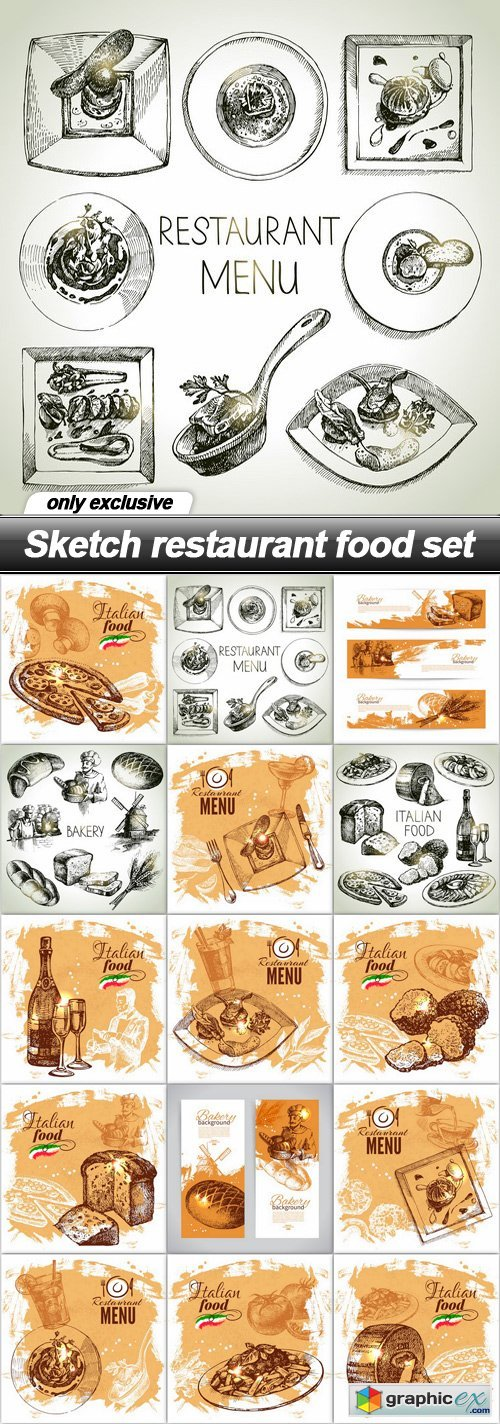 Sketch restaurant food set - 15 EPS