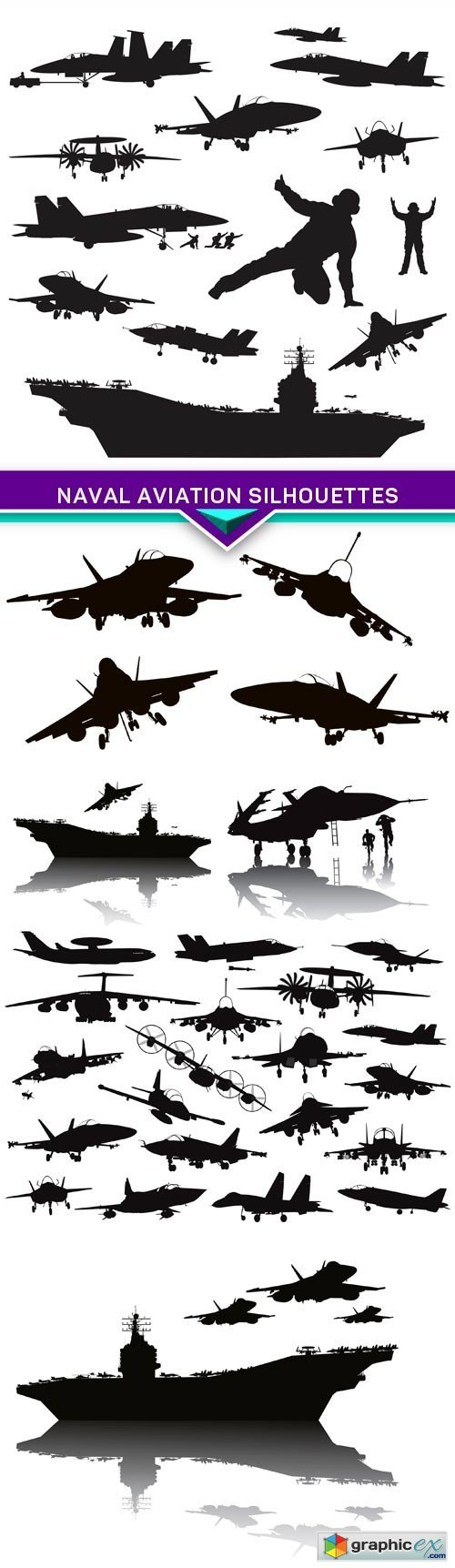 Naval aviation silhouettes 6X EPS