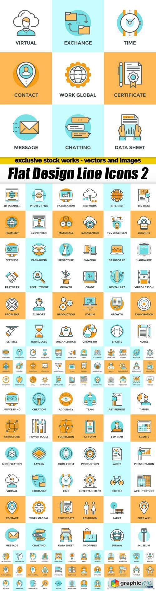 Flat Design Line Icons 2 - 16xEPS