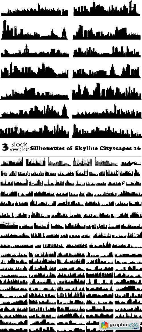 Silhouettes of Skyline Cityscapes 16