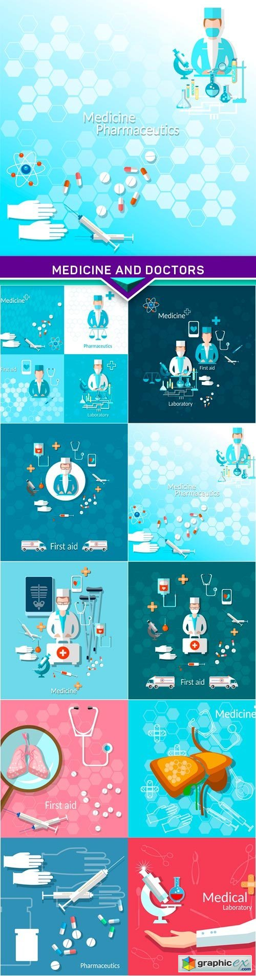 Medicine and doctors vector illustration 7X EPS
