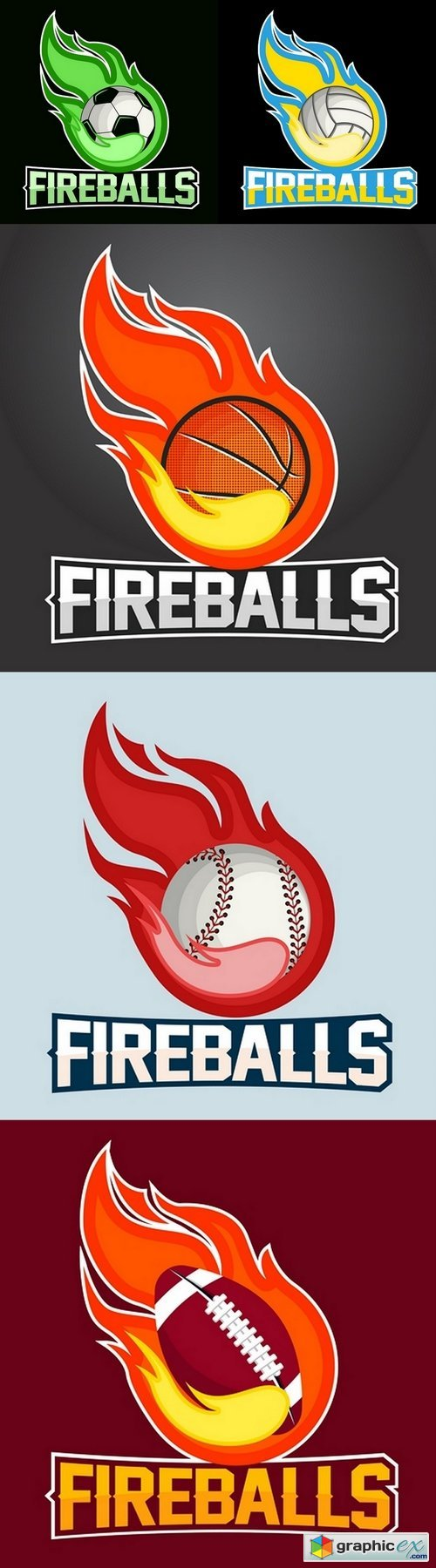 Flying ball with fire flames on dark background