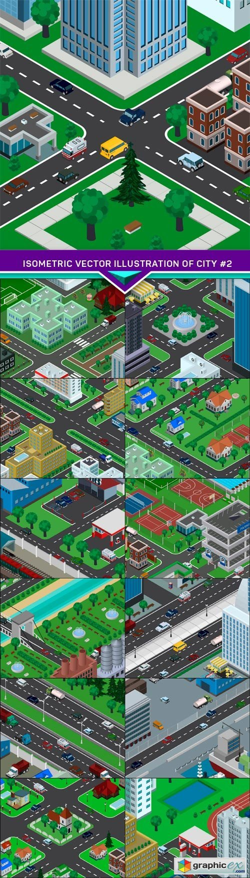 Isometric vector illustration of city #2 13X EPS
