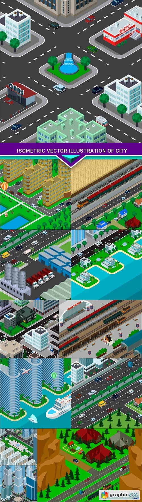 Isometric vector illustration of city 12X EPS
