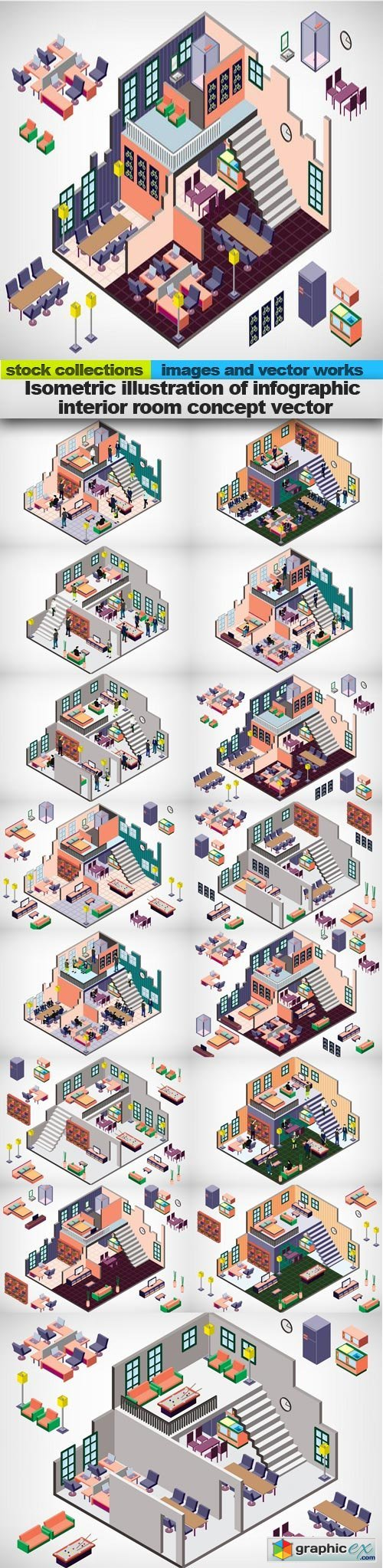 Isometric illustration of infographic interior room concept vector, 15 x EPS