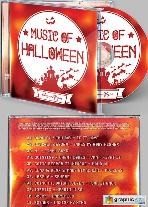 Halloween Music CD Cover PSD Template