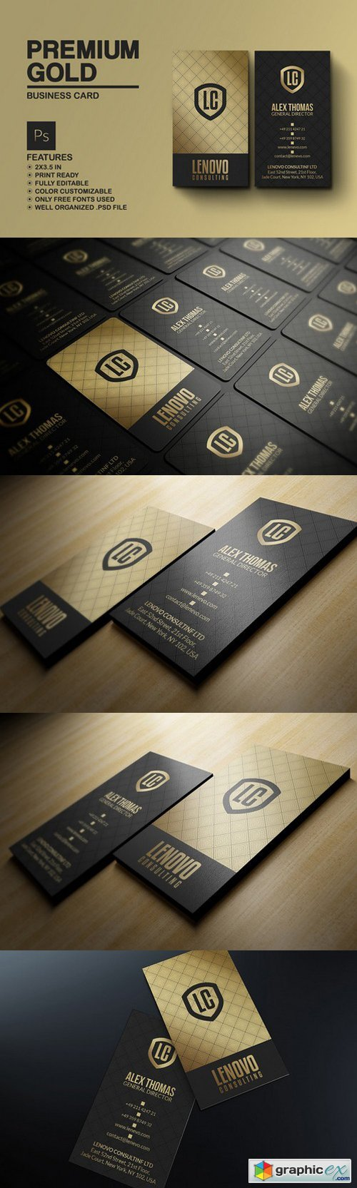 Premium Gold And Black Business Card 786200